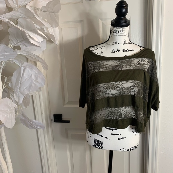 Lush Tops - Olive lace crop top